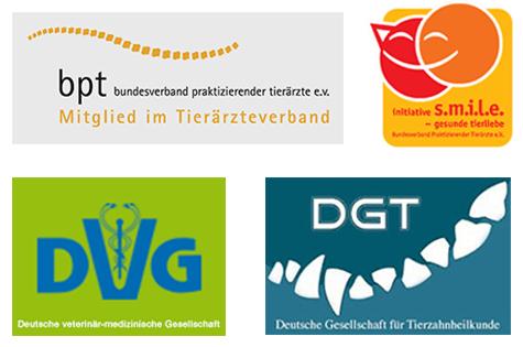 logos von bundesverband praktizierender tieraerzte, deutsche veterinaermedizinische gesellschaft, gesellschaft fuer tierzahnheilkunde, initiative s.m.i.l.e. – gesunde tierliebe